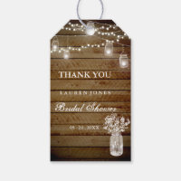 Rustic Wood Mason Jar Bridal Shower Favor Tags