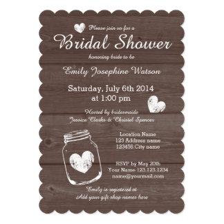 Rustic wood mason jar bridal shower invitations