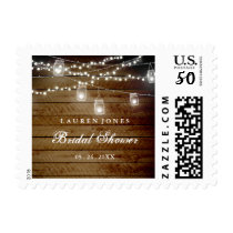 Rustic Wood Mason Jar Bridal Shower Stamp