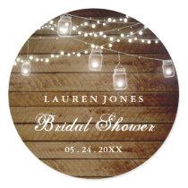 Rustic Wood Mason Jar Bridal Shower Sticker