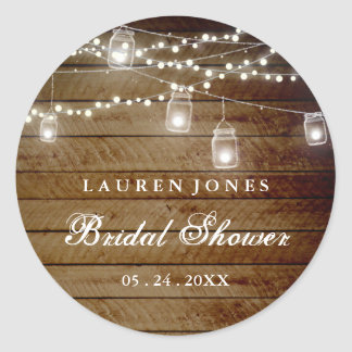 Rustic Wood Mason Jar Bridal Shower Sticker