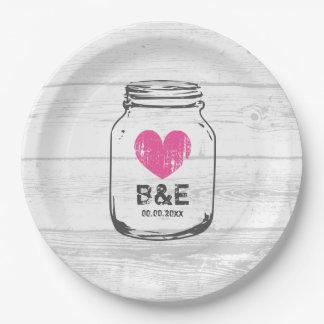 Rustic wood mason jar country wedding party plates