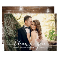 Rustic Wood Mason Jar Lace Wedding Photo Thank You Card