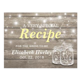 Rustic Wood Mason Jar Lights Bridal Shower Recipe Postcard