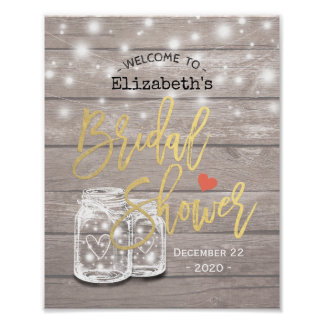 Rustic Wood Mason Jar Lights Bridal Shower Welcome Poster