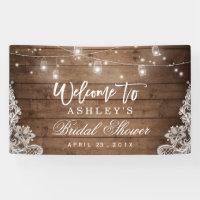 Rustic Wood Mason Jar Lights Lace Bridal Shower Banner