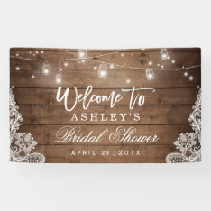 Rustic Wood Mason Jar Lights Lace Bridal Shower Banner at Zazzle