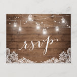 "Rustic Wood Mason Jar Lights Lace Wedding RSVP Invitation Postcard<br><div class=""desc"">Rustic Wood Mason Jar Lights Lace Wedding RSVP Reply Card.  (1) For further customization,  please click the &quot;customize further&quot; link and use our design tool to modify this template.  (2) If you need help or matching items,  please contact me.</div>"