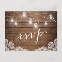 Rustic Wood Mason Jar Lights Lace Wedding RSVP Invitation Postcard