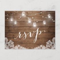 Rustic Wood Mason Jar Lights Lace Wedding RSVP Invitation Postcard