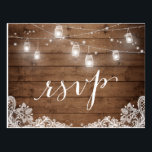 "Rustic Wood Mason Jar Lights Lace Wedding RSVP Postcard<br><div class=""desc"">================= ABOUT THIS DESIGN ================= 