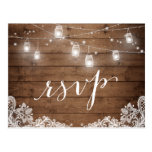 Rustic Wood Mason Jar Lights Lace Wedding RSVP Postcard<br><div class='desc'>================= ABOUT THIS DESIGN ================= 
