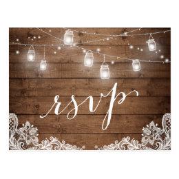 Rustic Wood Mason Jar Lights Lace Wedding RSVP Postcard ...