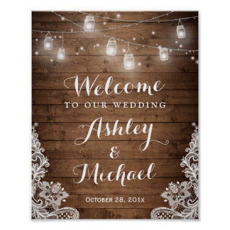 Rustic Wood Mason Jar Lights Lace Wedding Sign Poster