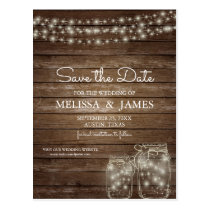 Rustic Wood Mason Jar Lights Save The Date Postcard
