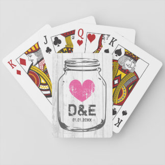 Rustic wood mason jar playing cards wedding favor