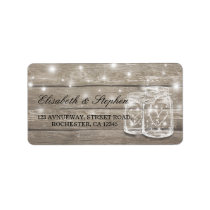 Rustic Wood Mason Jar String Light Wedding Address Label