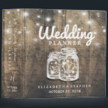 """Rustic Wood Mason Jar String Light Wedding Planner 3 Ring Binder<br><div class=""""desc"""">Wedding Planner Binder Templates - Elegant Mason Jar and String Lights on Rustic Wood Background. A Perfect Design for your Big Day. All text style,  colors,  sizes can be modified to fit your needs!</div>"""
