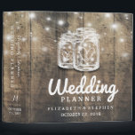 """Rustic Wood Mason Jar String Light Wedding Planner Binder<br><div class=""""desc"""">Wedding Planner Binder Templates - Elegant Mason Jar and String Lights on Rustic Wood Background. A Perfect Design for your Big Day. All text style,  colors,  sizes can be modified to fit your needs!</div>"""