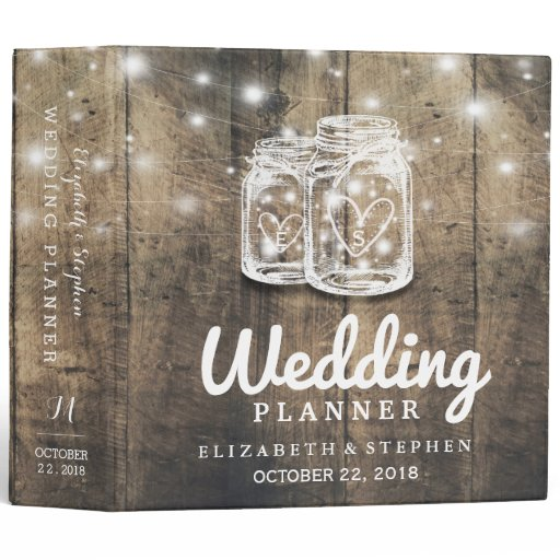 Rustic Wood Mason Jar String Light Wedding Planner Binder