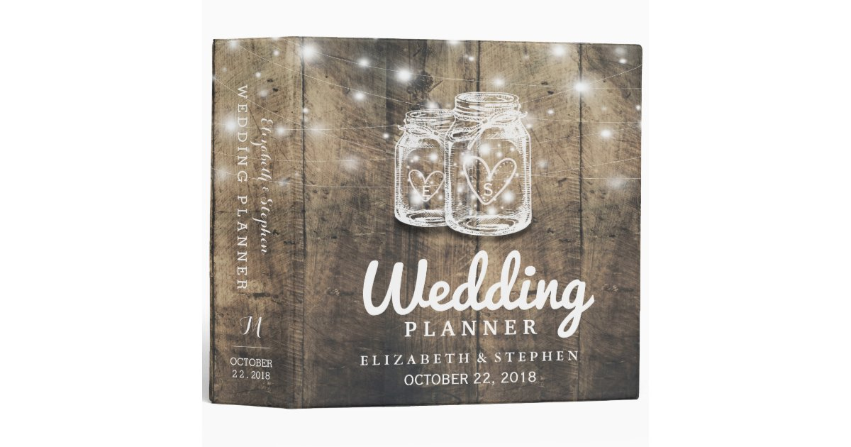 Printable Wedding Planner Binder Planning A Rustic: Rustic Wood Mason Jar String Light Wedding Planner Binder