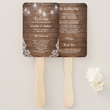 Rustic Wood Mason Jar String Light Wedding Program Hand Fan