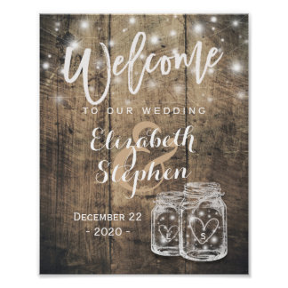 Rustic Wood Mason Jar String Light Wedding Welcome Poster
