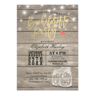 Rustic Wood & Mason Jar String Lights Bachelorette Card