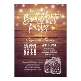 Rustic Wood & Mason Jar String Lights Bachelorette Invitation