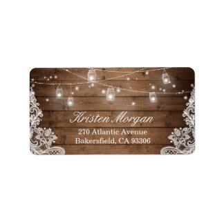 Rustic Wood Mason Jar String Lights Lace Label