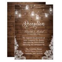 Rustic Wood Mason Jar String Lights Lace Reception Card