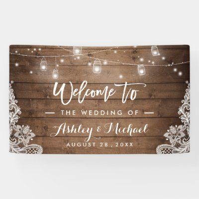 Rustic Wood String Lights Lace Graduation Party Banner