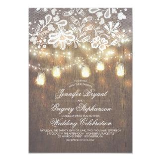 Rustic Wood Mason Jar String Lights Lace Wedding Card