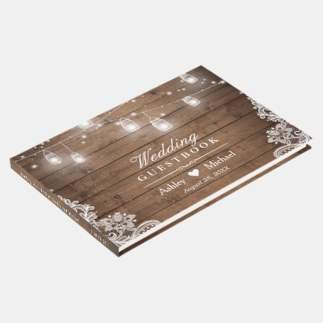 Rustic Wood Mason Jar String Lights Lace Wedding Guest Book