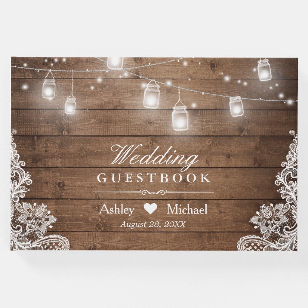 Rustic Wood Mason Jar String Lights Lace Wedding