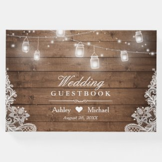 Rustic Wood Mason Jar String Lights Lace Wedding