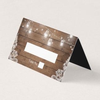 Rustic Wood Mason Jar String Lights Lace Wedding Place Card
