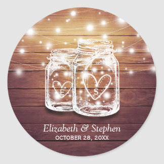 Rustic Wood Mason Jar String Lights Wedding Favor Classic Round Sticker