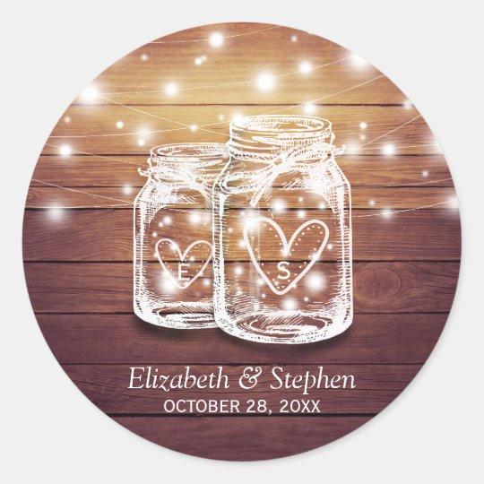 Rustic Wood Mason Jar String Lights Wedding Favor Classic Round