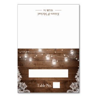 Rustic Wood Mason Jar String Lights Wedding Place Table Number