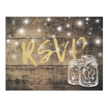 Rustic Wood & Mason Jar String Lights Wedding RSVP Postcard