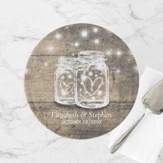 Rustic Wood Mason Jar String Lights Wedding Shower Cake Stand