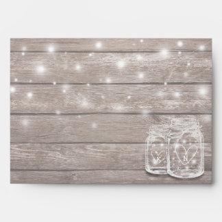 Rustic Wood Mason Jar String Lights Wedding Shower Envelope