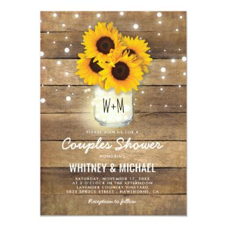 Rustic Sunflower Couple Shower Invitations