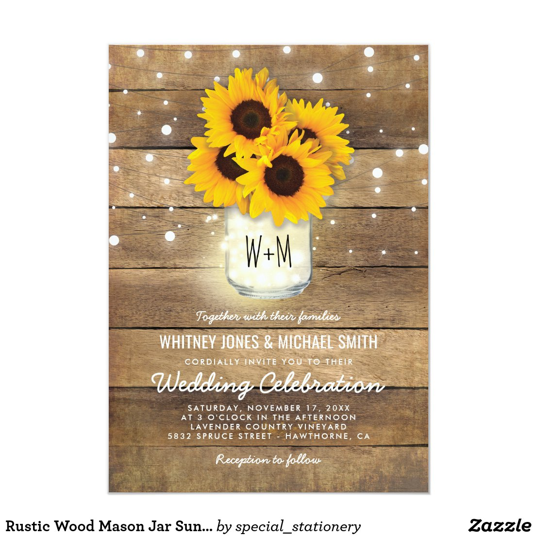 Country Sunflowers Wedding Invitations
