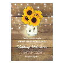 Rustic Wood Mason Jar Sunflowers Lights Wedding Invitations