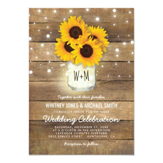 Country Sunflower Wedding Invitations