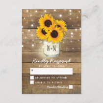Rustic Wood Mason Jar Sunflowers Wedding RSVP
