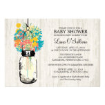 Rustic Wood Mason Jar Wildflowers Baby Shower Cards