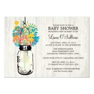 "Rustic Wood Mason Jar Wildflowers Baby Shower 5"" X 7"" Invitation Card"